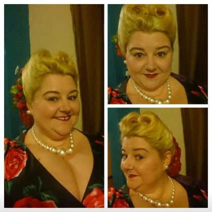 pin-up-girl-clothing, mary-blair-print, pug-girl-for-life, vintage-style, vintage-girl, snood, hair-flowers, vintage-pin-up-girl, plus-size-fashion, plus-size-vintage, ps-blogger, plus-size-blogger, chinese-buffet, all-you-can-eat, hen-party, work-friends,