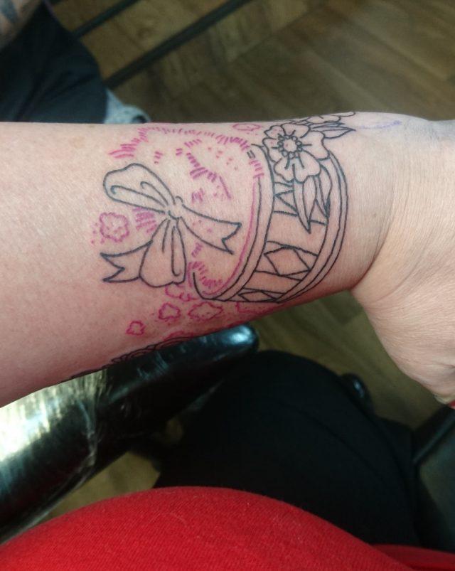 tattoo, mad tatters, thor gratts, wrist tattoo, vintage tattoo, vintage perfume bottle, powder puff tattoo, lipstick tattoo, mirror tattoo