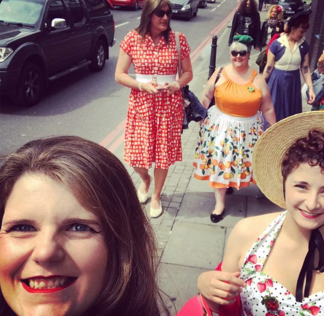 pin up girl clothing, jenny skirt, london, pin up picnic in the park, the british belles, charity event, vintage girls, vintage style, vintage events, barrio shoreditch, yesterdays girls, most marvellous meet ups, turban time