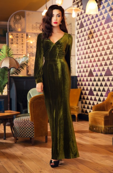 voodoo vixen, olive dress, molly dress, nicki dress, velvet dress, thirties style, londonedge, velvet gown, plus size, evening wear, plus size vintage, repro vintage, plus size vintage fashion