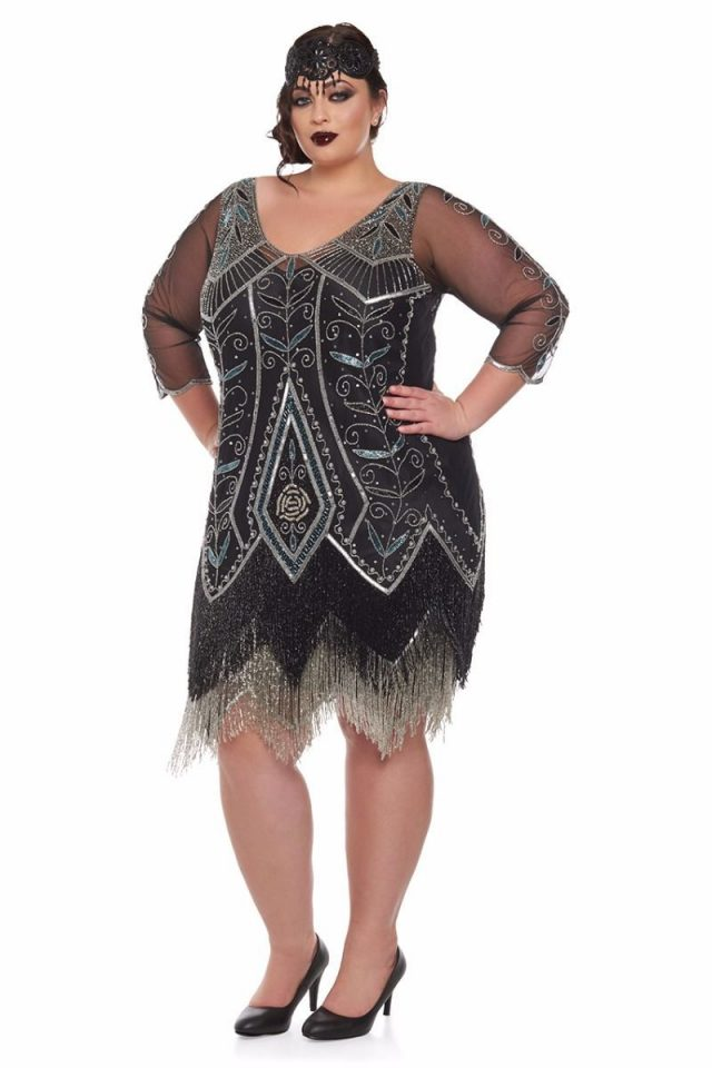 gatsbylady, flapper style, flapper girl, 20's style, flapper dress, headband, beaded dress, plus size dress, plus size flapper, the great gatsby, flapper style icon, plus size fashion, plus size style, plus size clothing, gatsbylady dresses,
